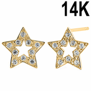Solid 14K Yellow Gold Star Clear CZ Earrings