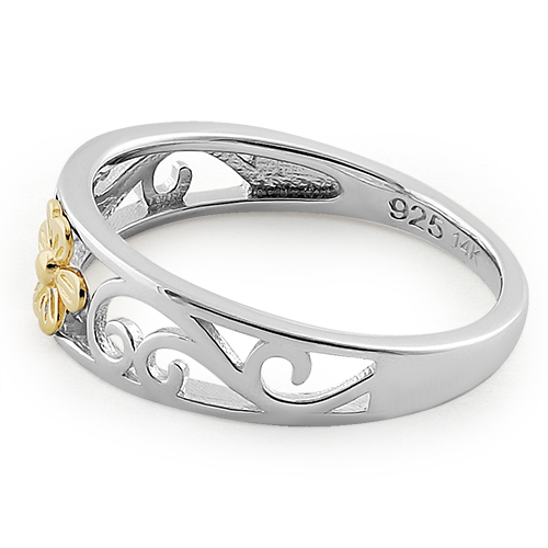 Solid 14k yellow gold sterling silver flower ring mightylinksfo