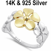 Solid 14K Yellow Gold & Sterling Silver Triple Plumeria Ring