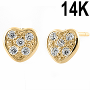 Solid 14K Yellow Gold Stlyish Heart Round Clear CZ Earrings