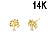 Solid 14K Yellow Gold Tree of Life Stud Earrings