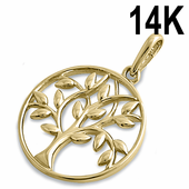 Solid 14K Yellow Gold Tree of LifePendant