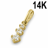 Solid 14K Yellow Gold Triple Round Clear CZ Pendant