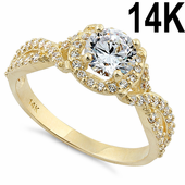 Solid 14K Yellow Gold Twist Round Halo Engagement Clear CZ Ring