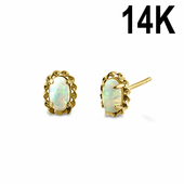 Solid 14K Yellow Gold White Lab Opal and Clear CZ Halo Oval Stud Earrings