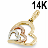 Solid 14K Yellow, Rose, and White Gold Heart Pendant