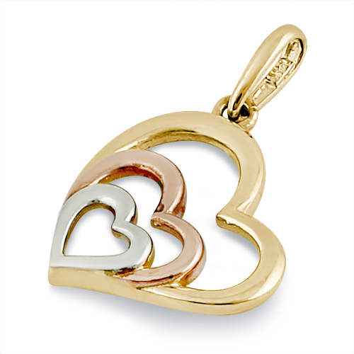 Solid 14k yellow rose and white gold heart pendant mozeypictures Gallery
