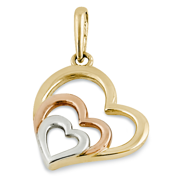 14k yellow rose and white gold heart pendant solid 14k yellow rose and white gold heart pendant mozeypictures Gallery