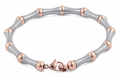 Stainless Steel and Rose Gold Plated Steel Bead and Bar Bracelet