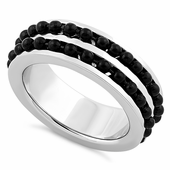 Stainless Steel Black Beaded Groove Polished Ring