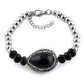 Stainless Steel Black Oval Stone CZ Bracelet