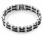 Stainless Steel Black Rubber Link Bracelet