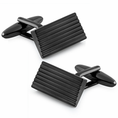 Stainless Steel Black Slanted Rectangular Lined Cufflinks