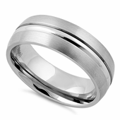 Stainless Steel Center Polished Double Groove Satin Finish Band Ring