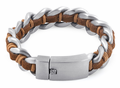 Stainless Steel Chain Brown Leather Bracelet