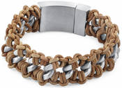 Stainless Steel Chain Tan Leather Bracelet