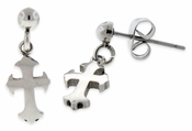 Stainless Steel Dangling Cross Stud Earrings