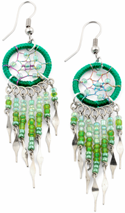 Stainless Steel Dreamcatcher Dark Green Beaded Dangle Earrings