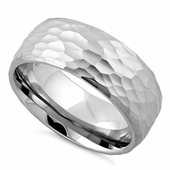 Stainless Steel Hammered Band Ring