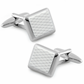 Stainless Steel Rectangular Intersecting Diagonal Lines Cufflinks
