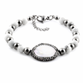 Stainless Steel Round Mother of Pearl CZ Bracelet