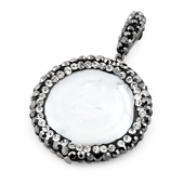 Stainless Steel Round Mother of Pearl CZ Pendant