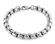 Stainless Steel Rounded Box Link Bracelet