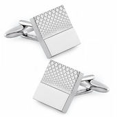Stainless Steel Split Square Intersecting Lines Polished Cufflinks