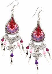 Stainless Steel Wine Pink and Purple Woven Drop Earrings