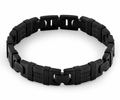 Stainless Steel Wrapped Black Bracelet