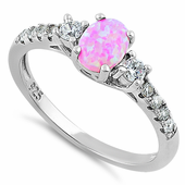 Sterling Silver Encahnted Oval Pink Lab Opal CZ Ring