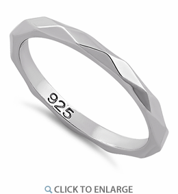 Sterling Silver 2mm Diagonal Facet Ring