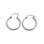 Sterling Silver 2MM x 22MM Loop Earrings
