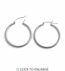 Sterling Silver 2MM x 30MM Loop Earrings