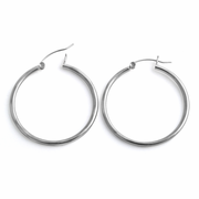 Sterling Silver 2MM x 35MM Loop Earrings
