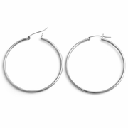 Sterling Silver 2MM x 50MM Loop Earrings