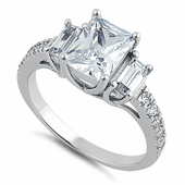 Sterling Silver 3 Clear CZ Stones Engagement Ring
