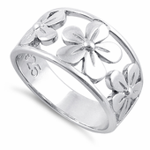 Sterling Silver 3 Flower Ring