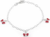 Sterling Silver 3 Multi Color Enamel Butterfly Bracelet (Child Size)