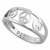 Sterling Silver 3 Peace Sign Ring