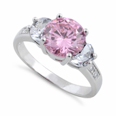 Sterling Silver 3 Pink CZ Ring