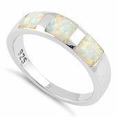 Sterling Silver 3 Square White Lab Opal Ring
