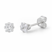 Sterling Silver 3mm Princess Cut CZ Stud Earrings Square