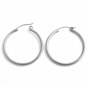 Sterling Silver 3MM x 40MM Loop Earrings