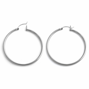 Sterling Silver 3MM x 55MM Loop Earrings