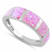 Sterling Silver 5 Bar Pink Lab Opal Ring