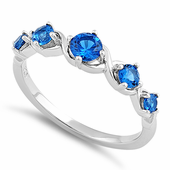 Sterling Silver 5 Round Blue Spinel CZ Ring