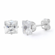 Sterling Silver 5mm Princess Cut CZ Stud Earrings Square