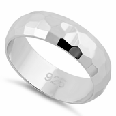 Sterling Silver 6MM Hammered Band Ring
