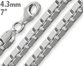"Sterling Silver 7"" Box Chain Bracelet - 4.3MM"